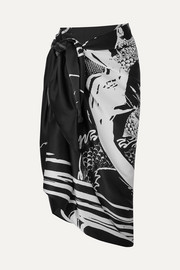 Balmain Printed silk-satin pareo