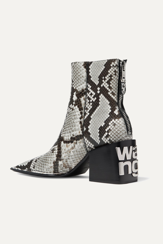 Alexander Wang Parker logo-embellished snake-effect leather ankle boots