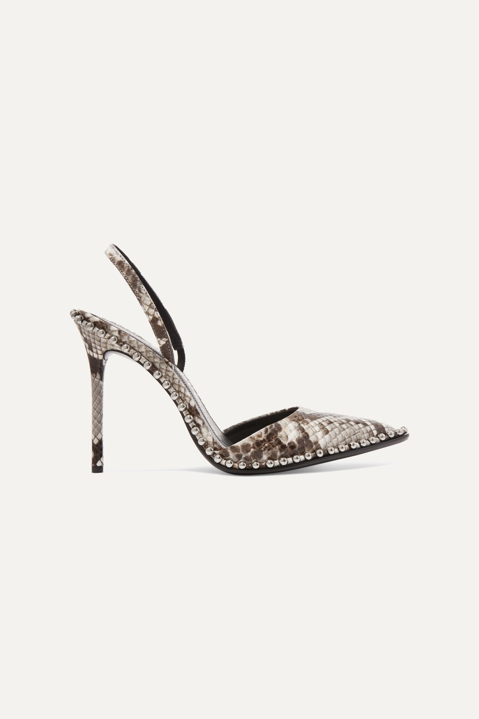 Alexander Wang Rina studded snake-effect leather slingback pumps