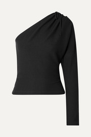 The Range Alloy one-shoulder ribbed stretch-knit top