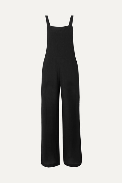 THE RANGE | The Range - Vapor Crinkled-Voile Jumpsuit - Black | Goxip