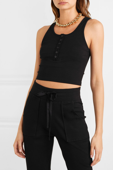 Alloy cropped ribbed stretch-knit tank