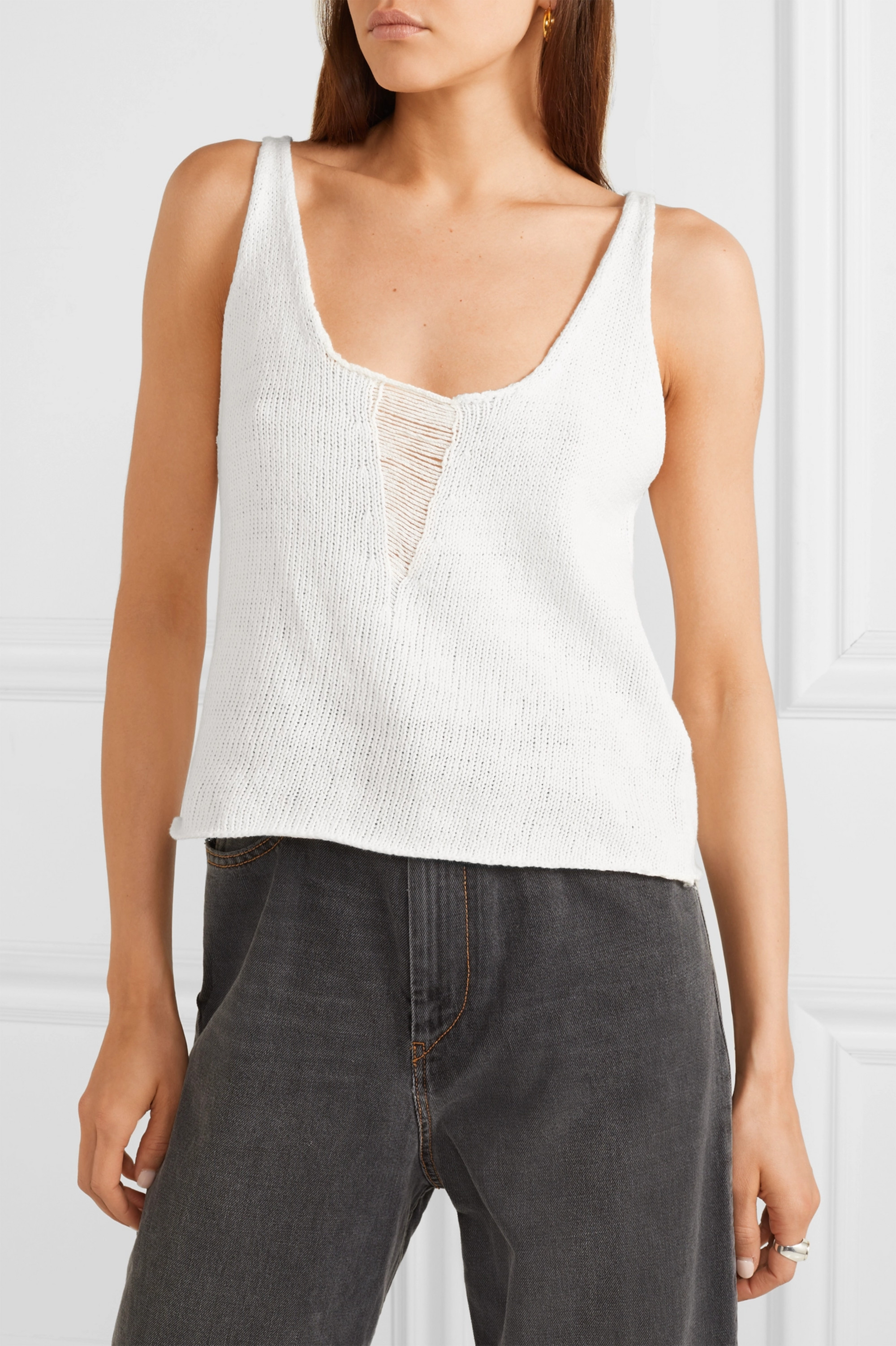 The Range Storm distressed knitted cotton tank