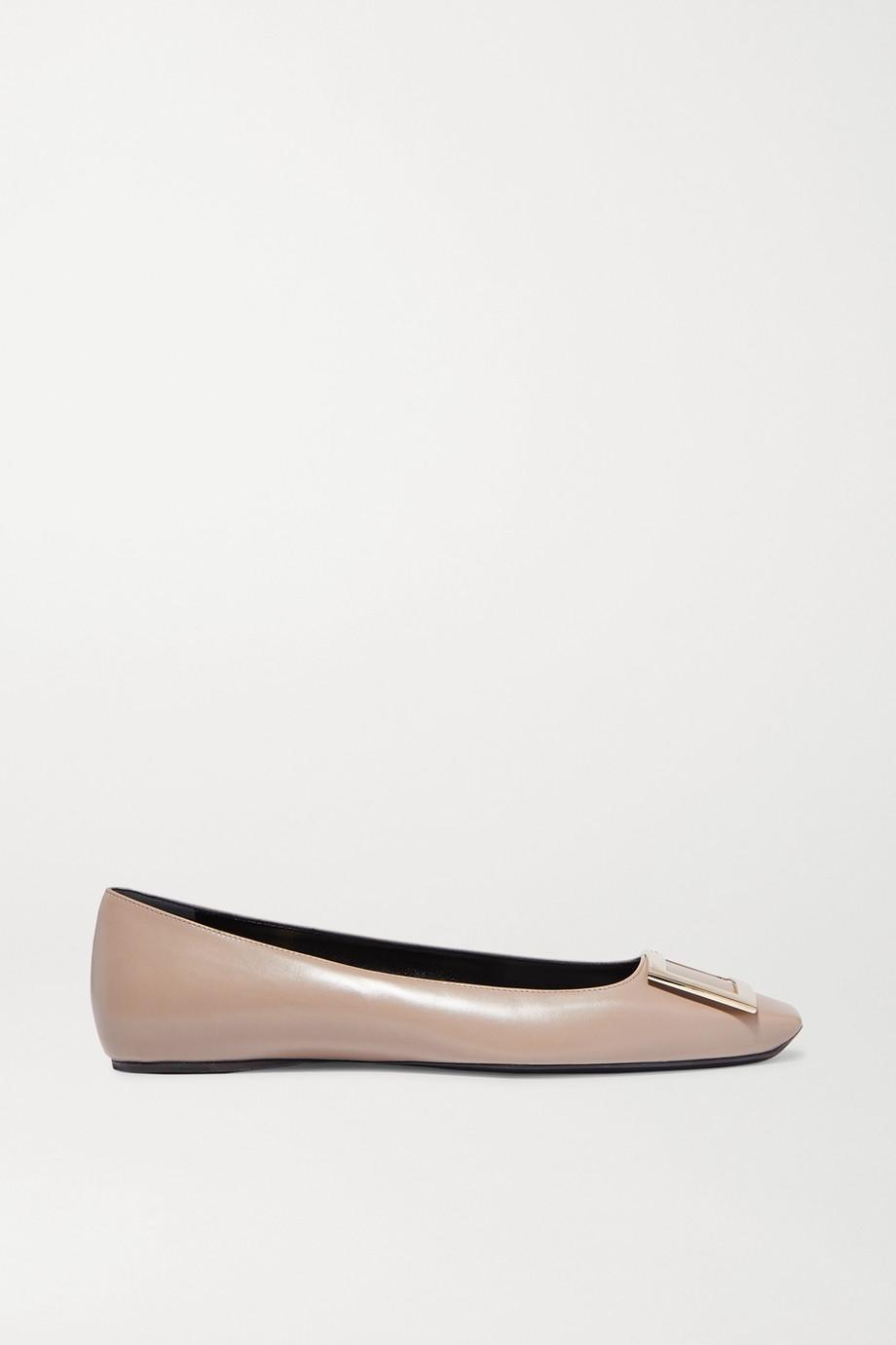 Roger Vivier Quadrata Trompette 带缀饰皮革芭蕾平底鞋