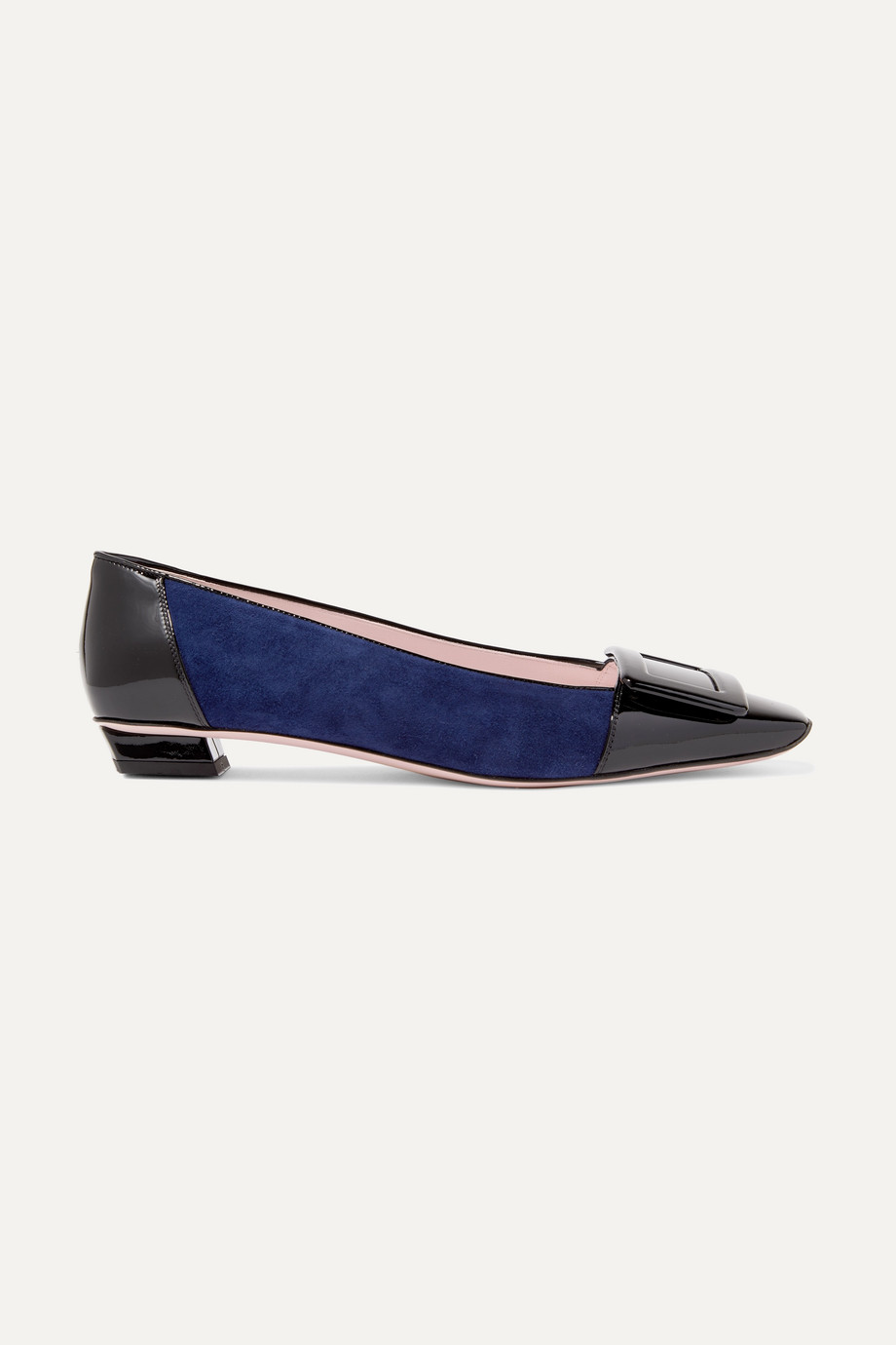 Roger Vivier Belle Vivier patent-leather and suede ballet flats
