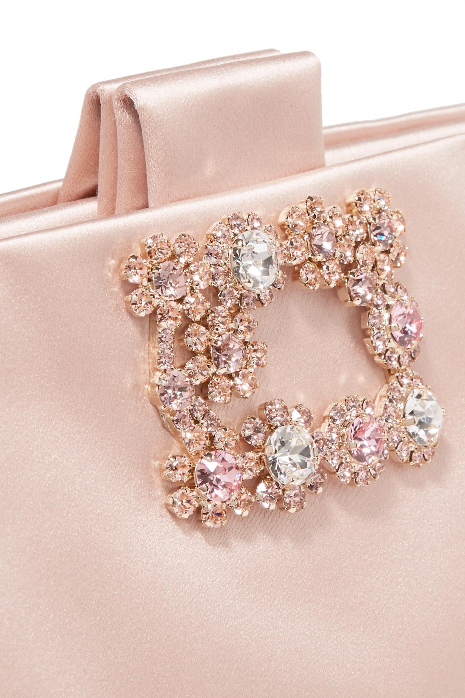 Roger Vivier Crystal-embellished satin clutch
