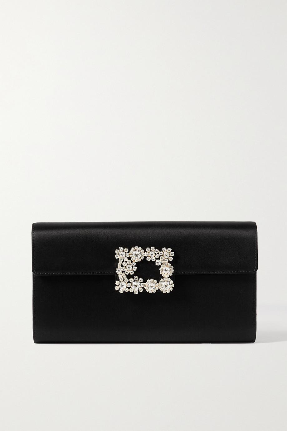 Roger Vivier Flower crystal-embellished leather clutch