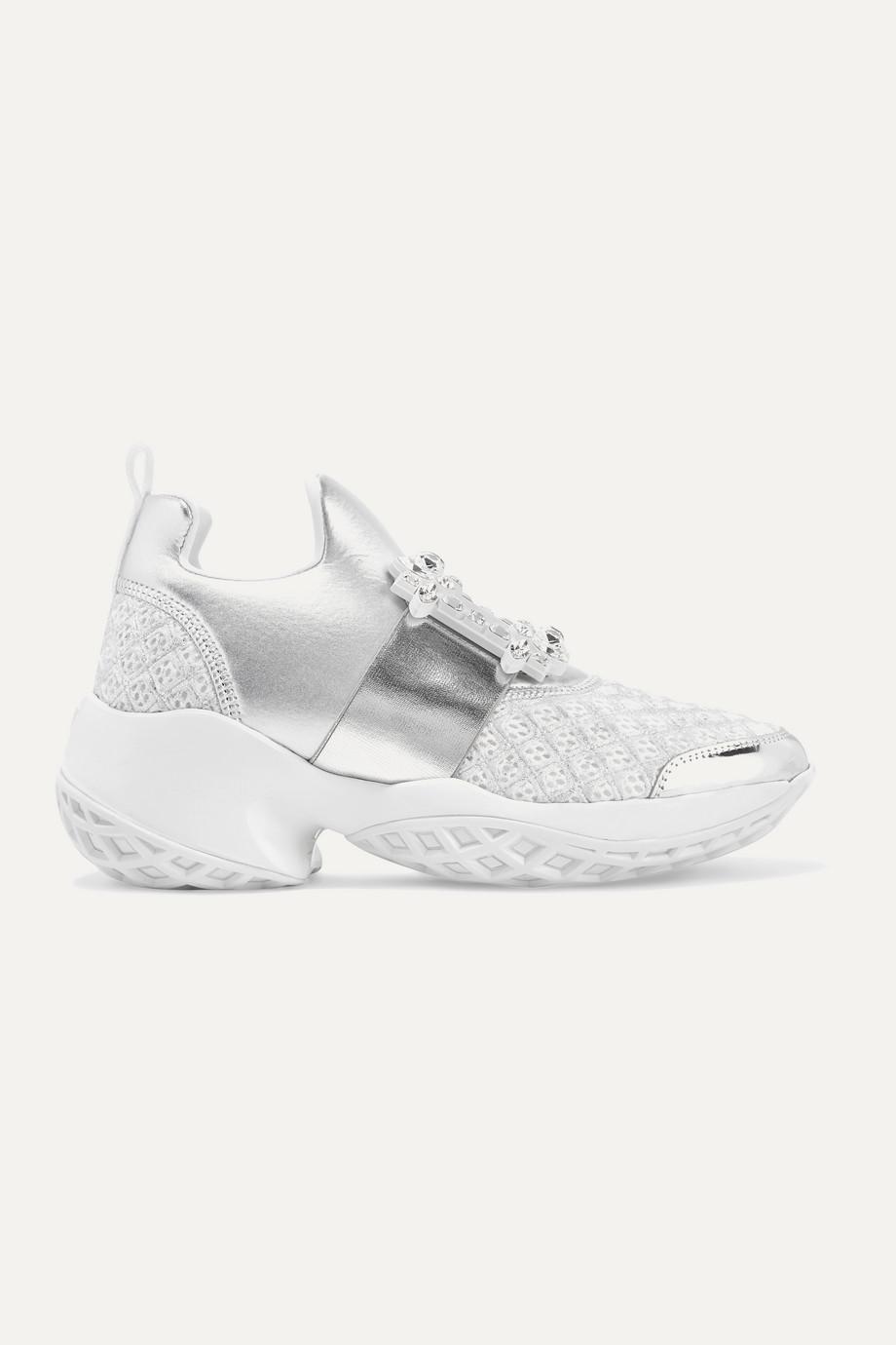 Roger Vivier Viv Run crystal-embellished metallic neoprene, leather and mesh slip-on sneakers