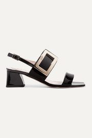 Gommettine patent-leather slingback sandals