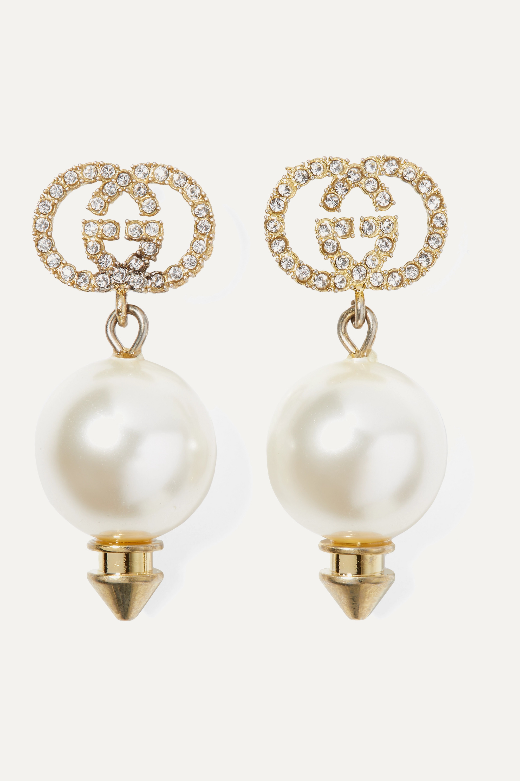 Gucci Gold-tone, faux pearl and crystal earrings