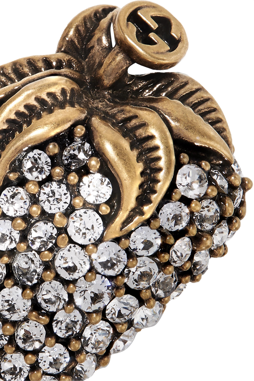 Gucci Goldfarbene Brosche mit Kristallen