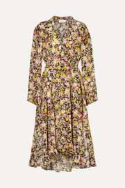 Asymmetric floral-print silk-crepe midi dress