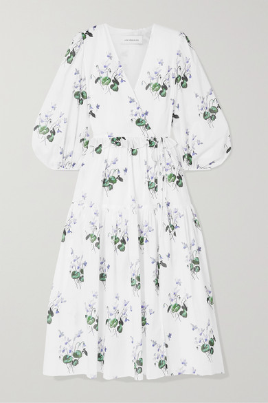 Ruffle Trimmed Floral Print Cotton Voile Wrap Dress by Les Rêveries