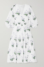 Ruffle-trimmed floral-print cotton-voile wrap dress