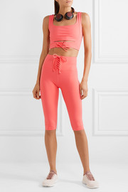 Cameron cropped lace-up stretch leggings