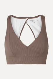 Veronica cutout ribbed stretch sports bra