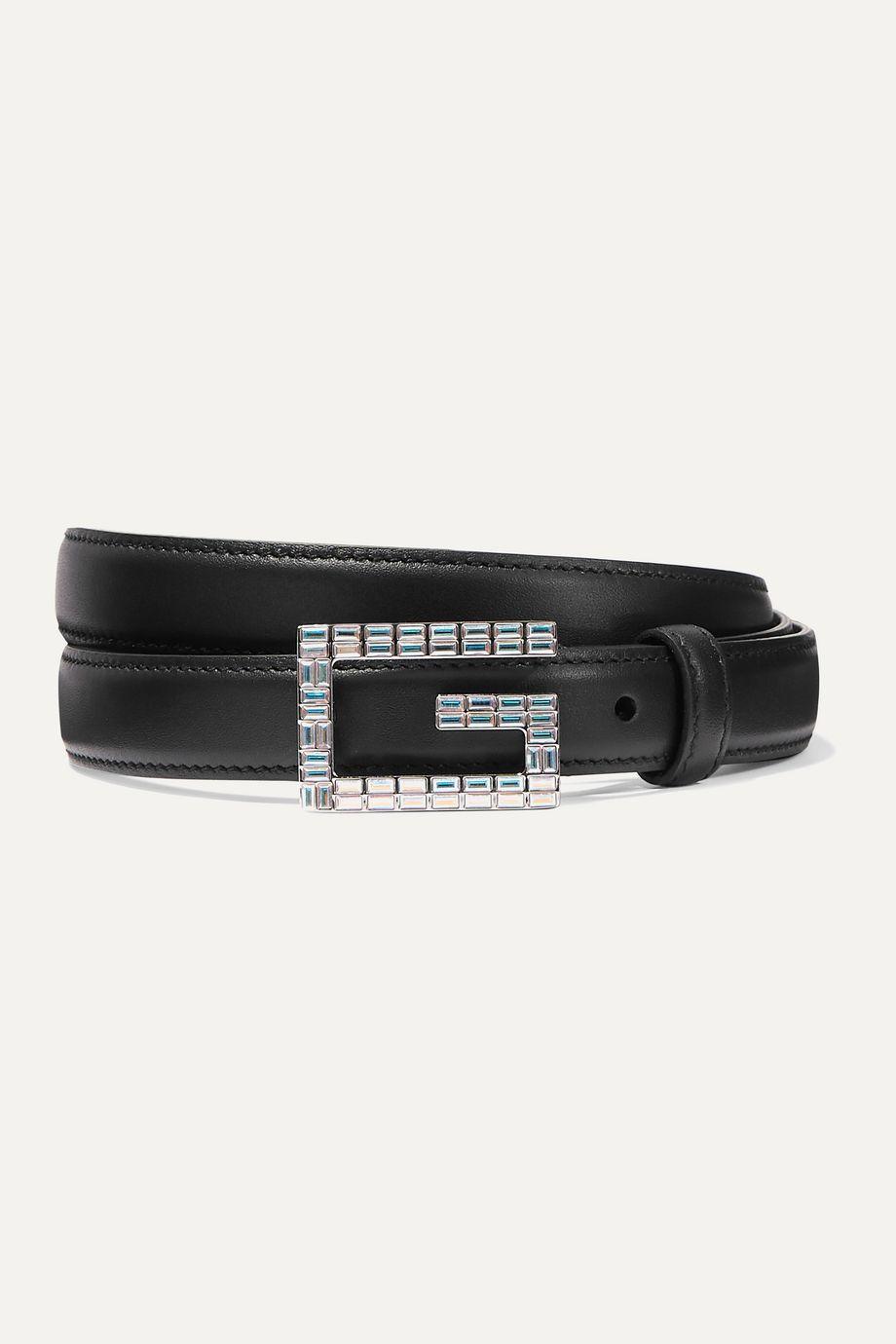 Gucci Moon crystal-embellished leather belt