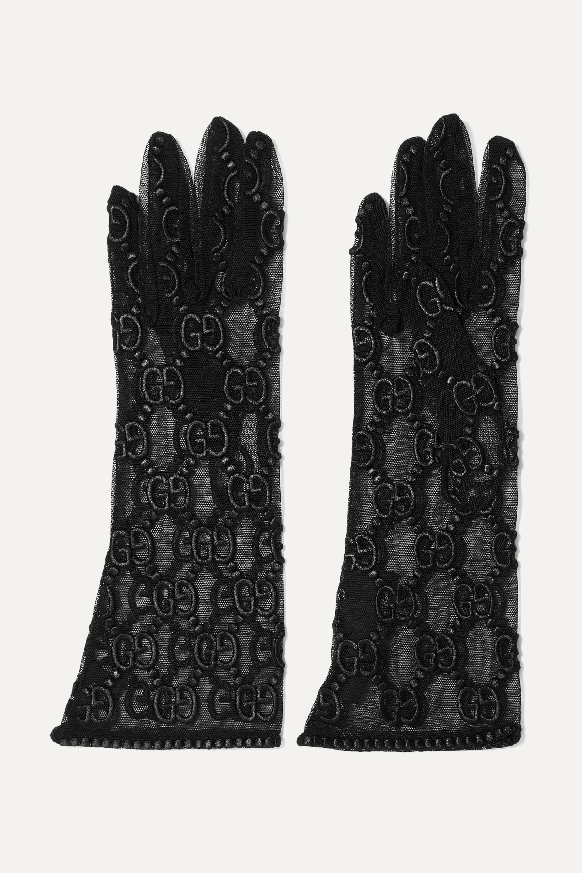 Gucci Embroidered tulle gloves