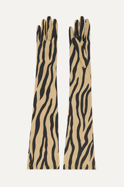 Gucci Zebra-print stretch-silk twill gloves