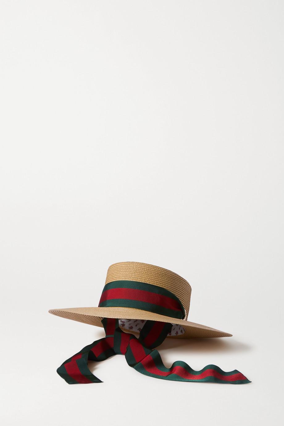 Gucci Hut aus Raffiabast mit Ribsbandbesatz