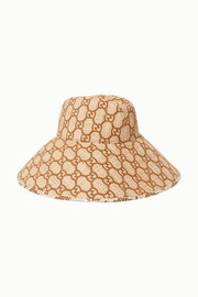 Gucci Watersnake-trimmed embroidered raffia hat