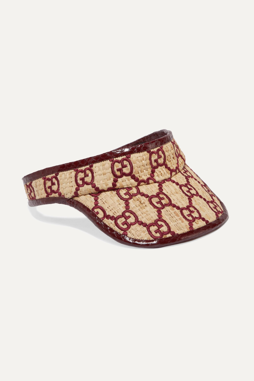 Gucci Visor aus besticktem Raffiabast mit Besatz aus Elapheleder