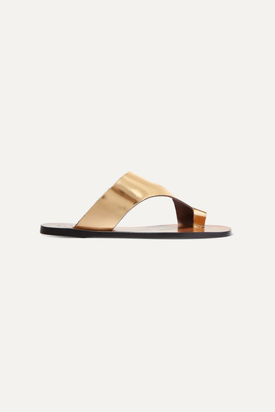 Atp Atelier Roma Cutout Metallic Leather Sandals In Gold