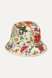Gucci Embellished floral-print cotton and linen-blend bucket hat
