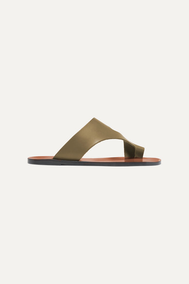 Atp Atelier Roma Cutout Leather Sandals In Army Green