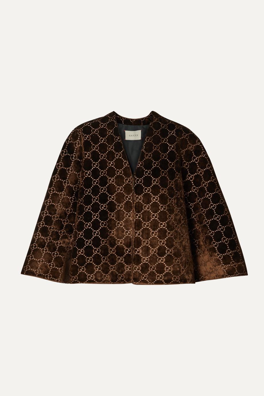 Gucci Velvet-jacquard cape