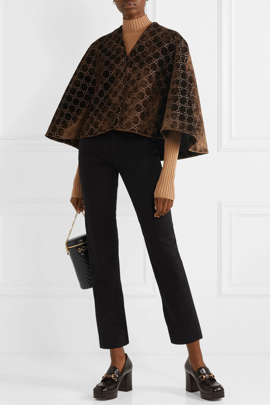 Gucci Cape aus Samt mit Jacquard-Muster