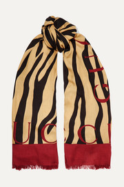 Fringed printed modal and silk-blend twill scarf
