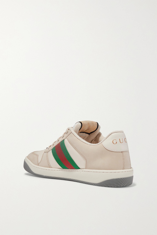 Gucci Screener 帆布边饰皮革运动鞋