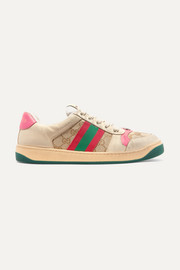 Gucci Screener logo-woven canvas and distressed leather sneakers