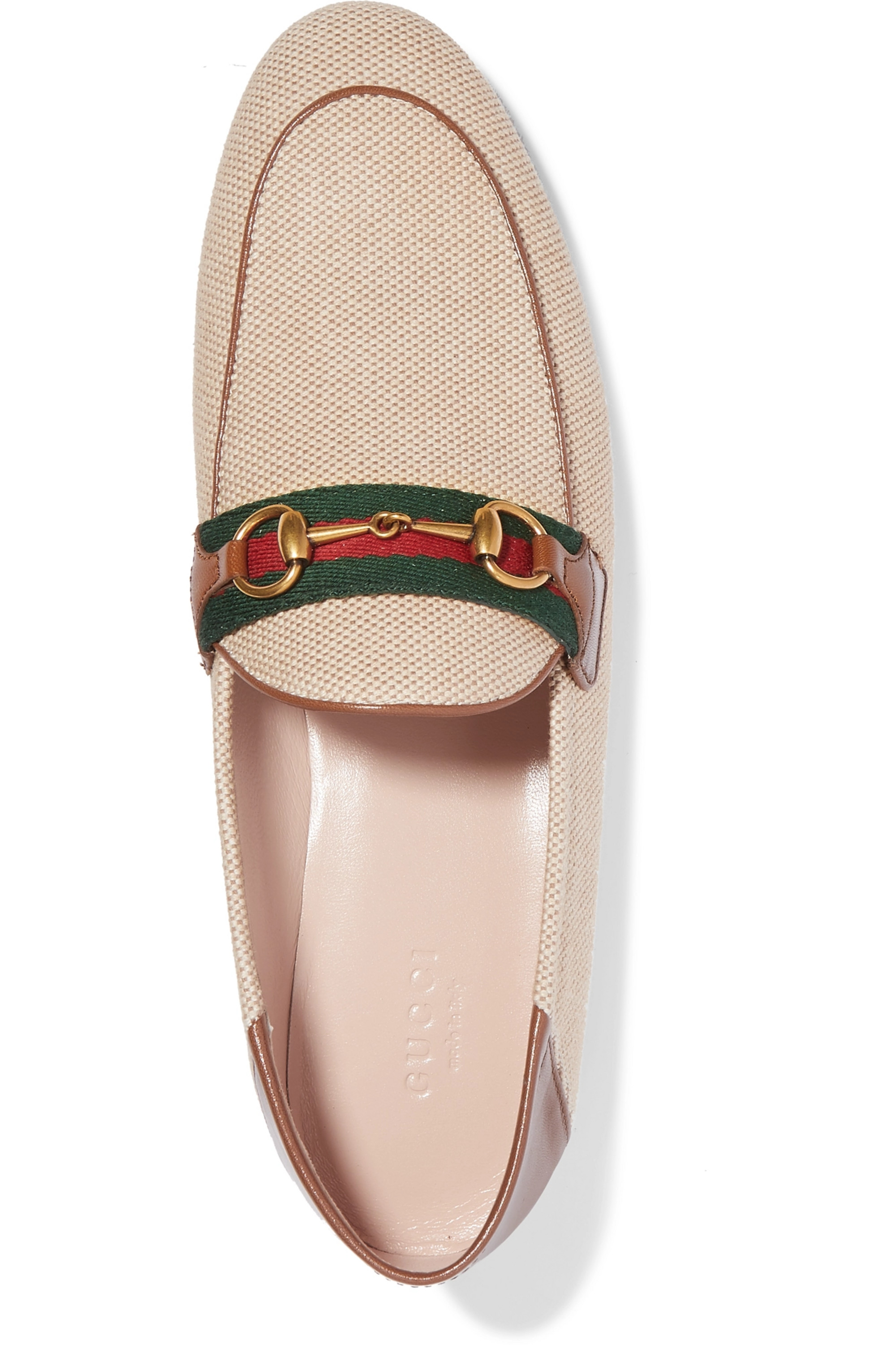 Gucci Brixton horsebit-detailed leather-trimmed canvas collapsible-heel loafers