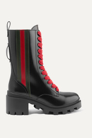 Gucci Trip striped glossed-leather ankle boots