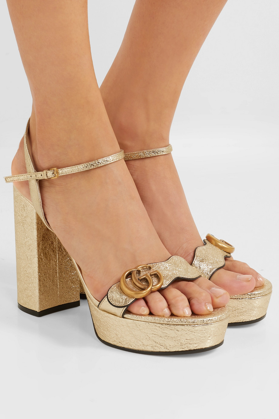 Gucci Marmont logo-embellished metallic cracked-leather platform sandals
