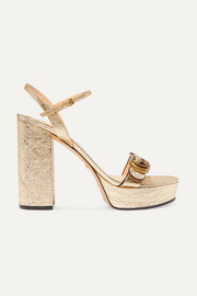 Gucci Marmont logo-embellished metallic cracked-leather platform sandals