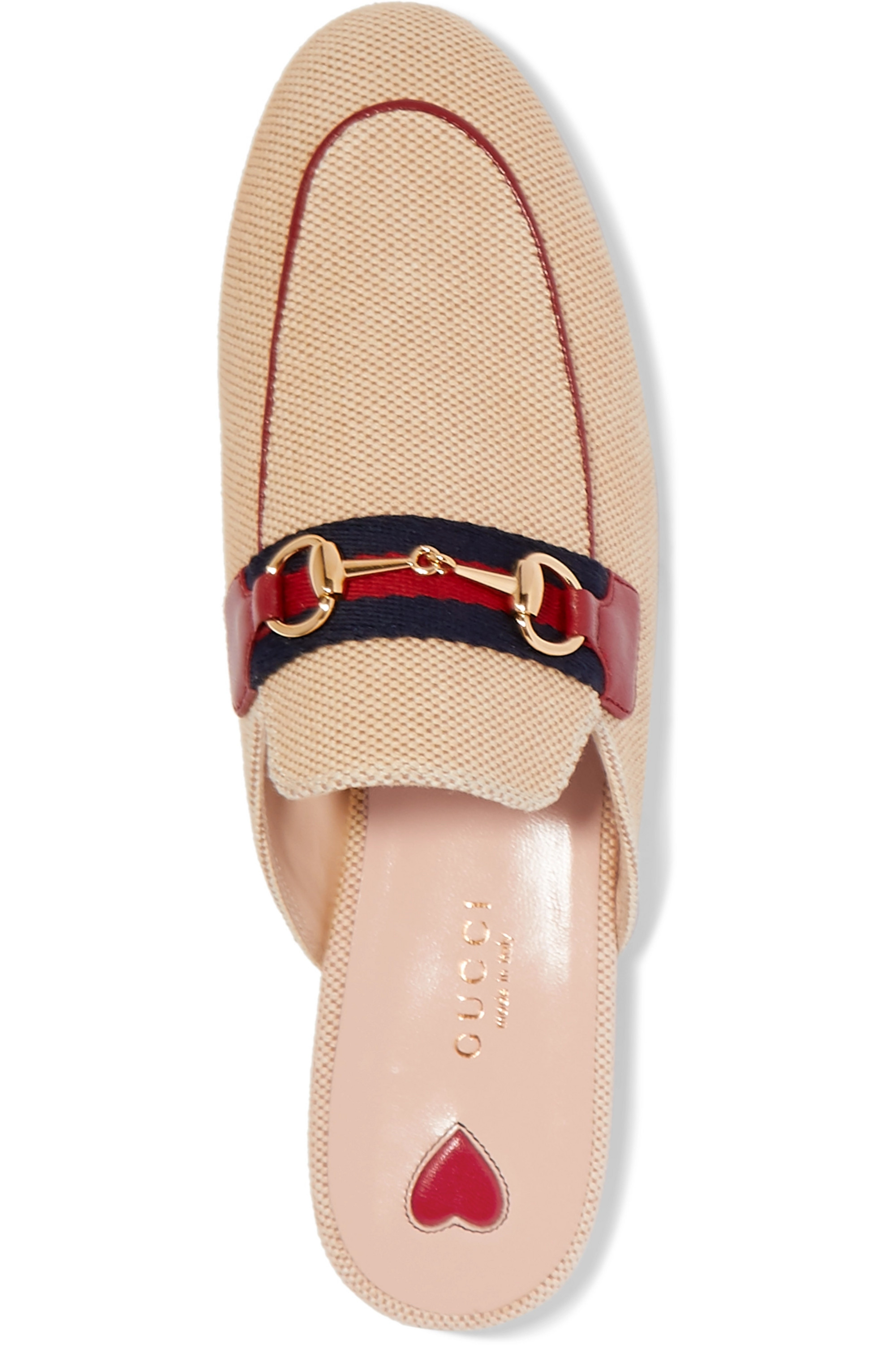 Gucci Princetown horsebit-detailed leather-trimmed canvas slippers