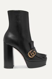 Gucci Marmont fringed logo-embellished leather platform ankle boots