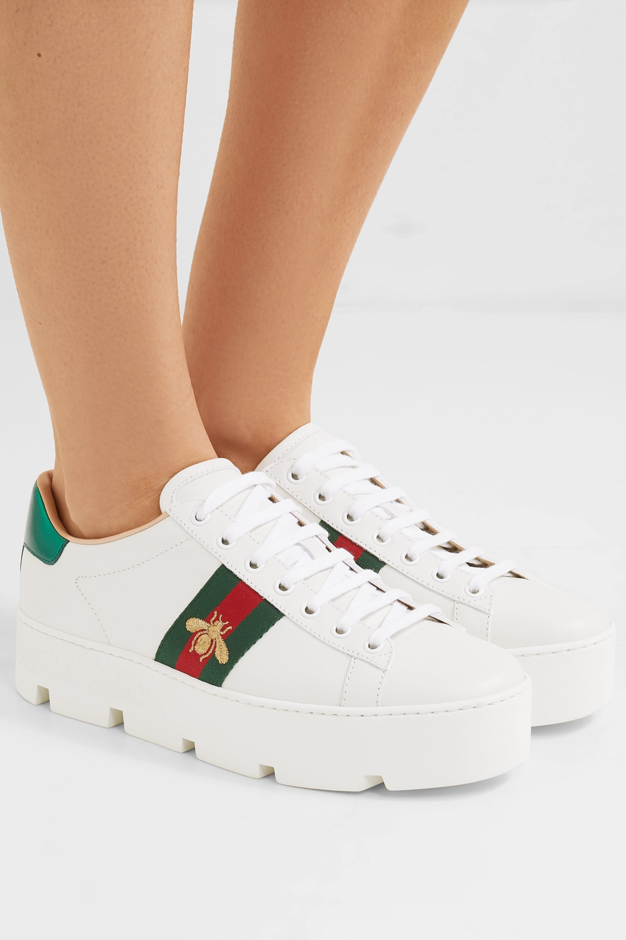 White New Ace embroidered leather