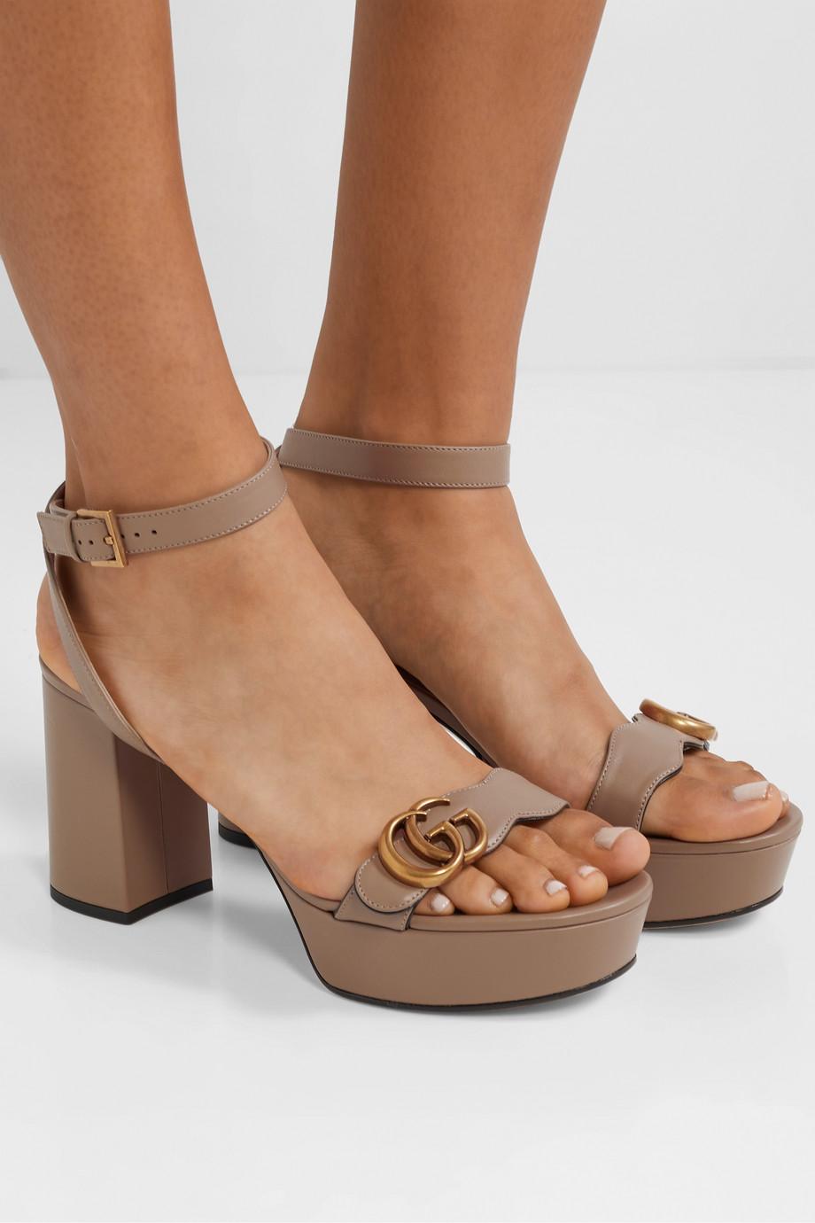 Gucci Marmont logo-embellished leather platform sandals