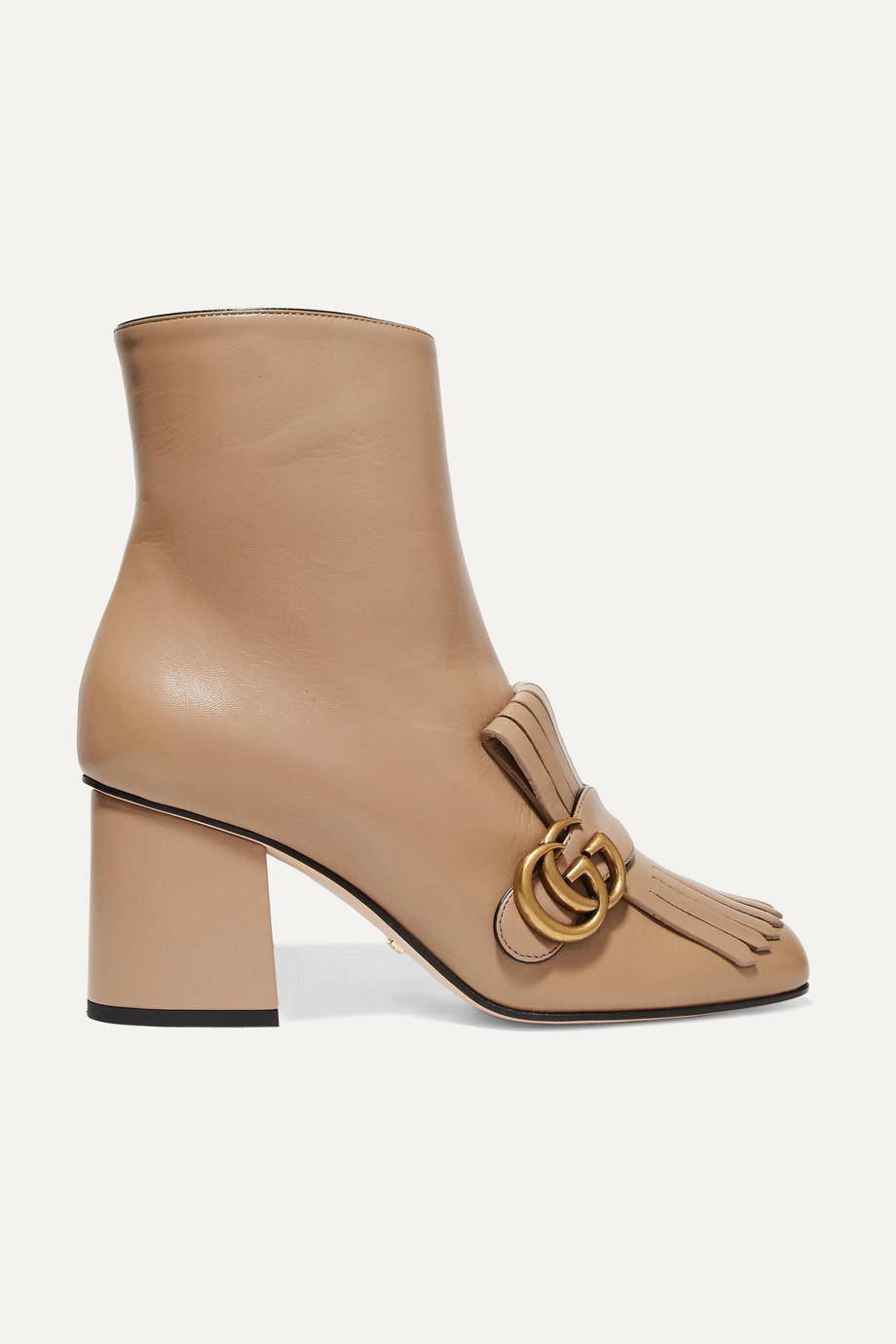 Gucci Marmont fringed logo-embellished leather ankle boots
