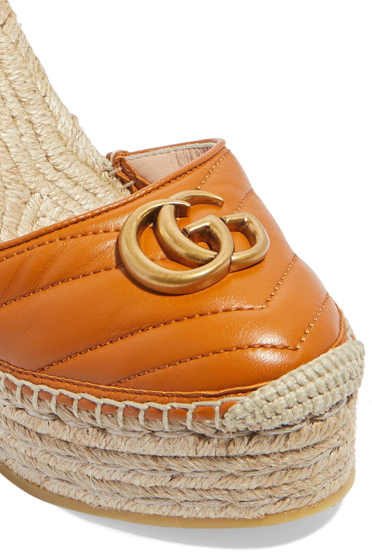 Gucci Pilar logo-embellished quilted leather wedge espadrilles