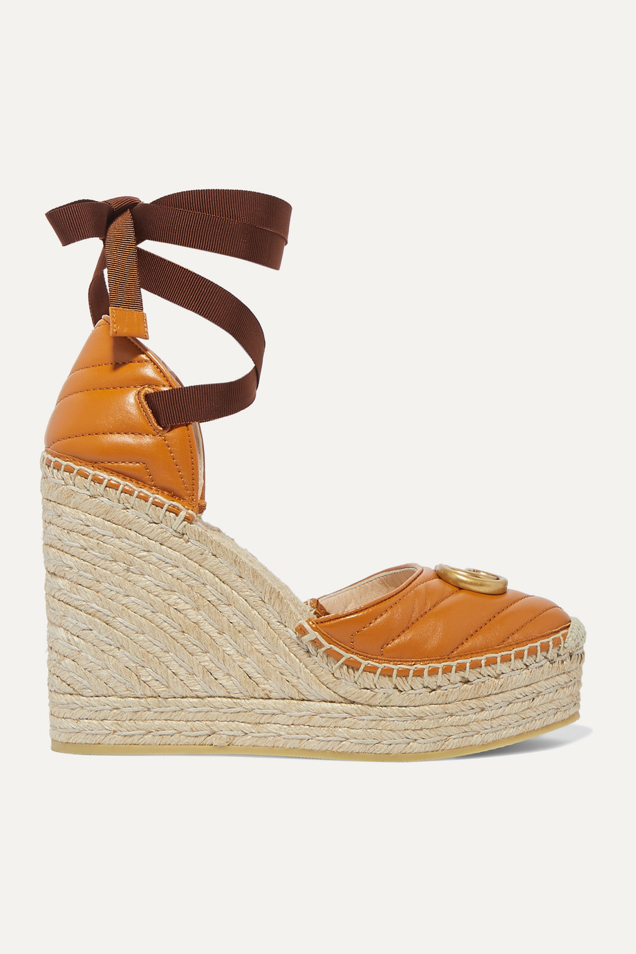 Gucci Pilar logo-embellished quilted leather wedge espadrilles