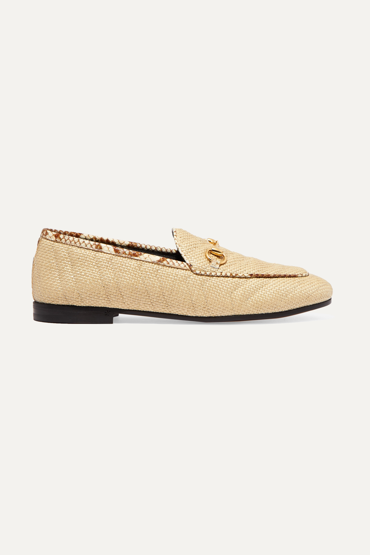 Gucci Jordaan horsebit-detailed elaphe-trimmed raffia loafers