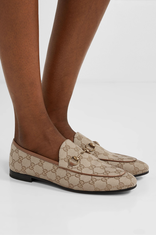 Gucci Jordaan 马衔扣细节皮革边饰标志印花帆布乐福鞋