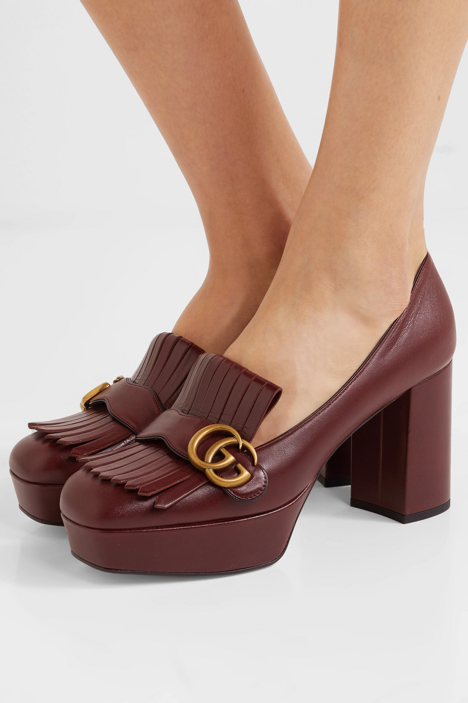 Gucci Marmont fringed logo-embellished leather platform pumps