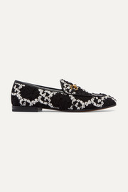 Gucci Jordaan horsebit-detailed leather-trimmed bouclé-tweed loafers