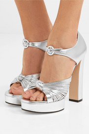 Crawford knotted metallic leather platform sandals